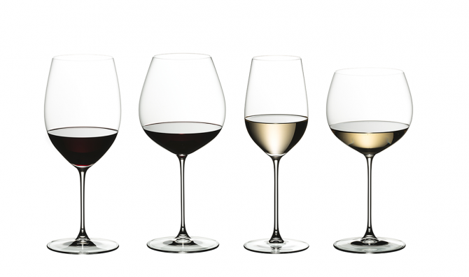 Riedel glasses in a line